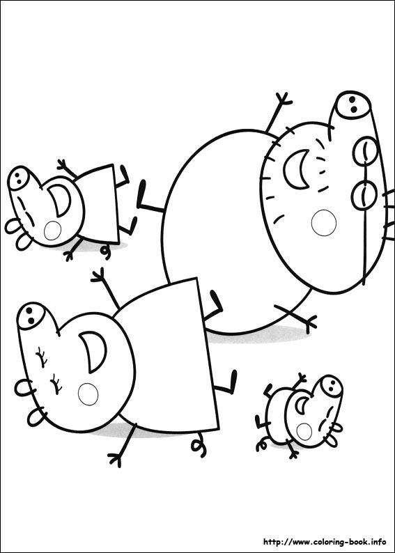 宝宝填色游戏图片——粉红猪小妹